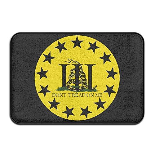 Drei Percenters Gadsden Flagge Don 't Tread On Me Indoor/Outdoor/Badezimmer Fußmatte Eintrag Boden Matte (Tan-hartholz-böden)