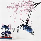 Blume Fee Pflaume Blüte Wandaufkleber Sch?ne Pflaume Blüte Zweige Schaukeln (abnehmbar, Wasserdicht, Grün) Geeignet für Schlafzimmer Wohnzimmer Wohnheim Hintergrund,Zahl