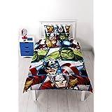 Character World Marvel Avengers Shield - Juego de ropa de cama individual, multicolor