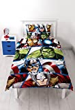 "Character World - Set copripiumino, letto singolo 91 cm, soggetto: ""Disney Marvel Avengers Shield"", multicolore"