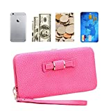 Ladies Stylish Purse, Aeeque Elegant Large Capacity Women Girls Mobile Phone Long Wallet Bag with Card Slots for iPhone 7 7 Plus/6 6S Plus/5 5S SE/Samsung J3/J5/A3/A5/S6 Edge/Huawei - Hot Pink