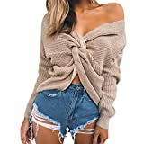 Baijiaye Femmes Court Tricot Chandail Sexy Col V Profond Dos Nu Pull Torsadé Grosse Maille Pull-Overs Manche Chauve Souris Abricot