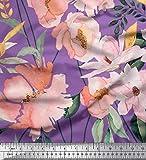 Soimoi Lila Satin Seide Stoff Blätter & Magnolie Blumen-