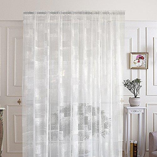R. lang - tende in voile con passanti nascosti, per soggiorno, motivo astratto, colore bianco, vendita al metro, tessuto, 36
