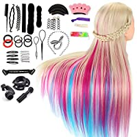 """Neverland Training Head, 26-28"""" Rainbow 100% Synthetic Fiber Long Hair Hairdressing Cosmetology Mannequin Manikin Dolls Head for Stying Practicing with Free Clamp Braiding Set"""