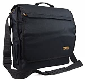 Unisex Hi-Tec Messenger Satchel Laptop Work College School Shoulder Bag (Black)
