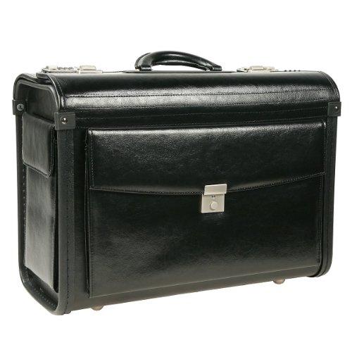 Dermata Business Pilotenkoffer aus Leder schwarz