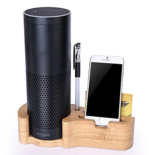 Lautsprecher Ständer für Amazon Alexa Echo Gen. 1Echo Plus iPhone [nicht für Echo Lautsprecher Gen 2], rukoy Bambus Schutzhülle Halterung für Amazon Alexa Echo Echo Dot Echo Plus iPhones Samsung Galaxy Smartphones