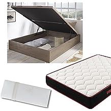Hogar24.es Canapé de madera roble vintage + colchón viscoelástico reversible +almohada 100% viscoelástica-150x200cm