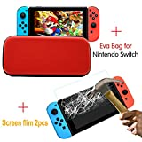 BEESCLOVER Game Machine Accessory Set 1PC Storage Bag & 2PCS Tempered Glass Screen Protectors