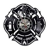 Casque De Pompiers Styling Vinyle Horloge Murale Cd Record Clock Antique À La Main...