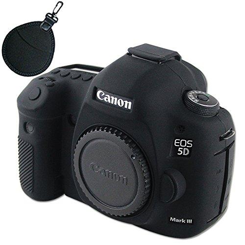 First2savvv XJPT-5D3GJ-01UV Nero corpo pieno misura precisa TPU gomma custodia per fotocamera per Canon EOS 5D Mark III . 5D Mk3 . 5DS . 5DSR .5DR + Bag UV Lens
