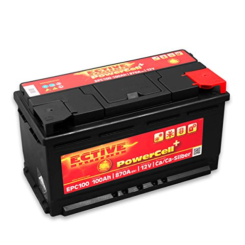 ECTIVE 12V Autobatterie 100Ah 870A EPC-Serie in 8 Varianten: 46Ah - 100Ah (wartungsfrei)