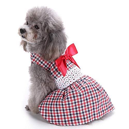 Jamisonme Hund Kleider für Kleine mittlere große Hunde Mädchen Sommer Hund Rock Lady Hund Kleid Floral Rock Hund Prinzessin Bogen Kleid von (Red ()