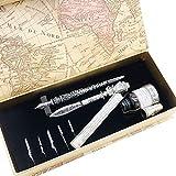 Penna calligrafica in metallo con 5 pennini extra, taglierina, boccetta di inchiostro in confezione regalo, per principianti GC-LL68