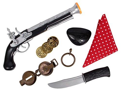 äuber Verkleidung im Set 6-teilig Kinder Pistole Augenklappe Messer Piratenverkleidung von ALSINO P481065 (Piraten-outfit Erwachsene)