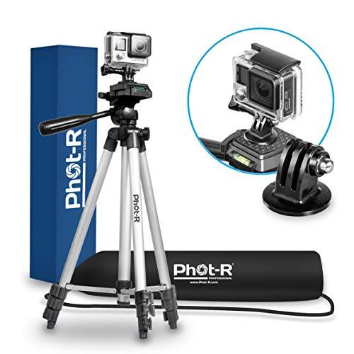 Phot-R 127cm 4-teiligem Universal Alu Foto Video Stativ Ständer mit 3-Wege-360 ° Drehgelenk Panhead für GoPro Hero 4 3 + 2 1 Action Kamera
