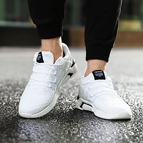JOYTO Uomo Scarpe da Ginnastica Corsa Sportive Fitness Running Basse Casual All'aperto Sneakers Nero Bianca Grigio 39-46 Bianco