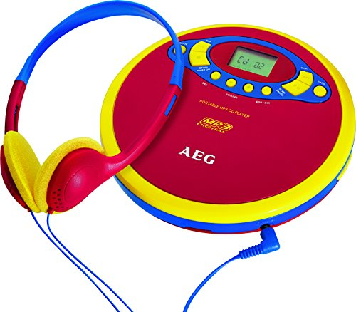 Tragbarer Kinder CD Player MP3 Kopfhörer Musik Anlage Anti Shock AEG CDP 4228 bunt