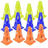 Lusum 9 Inch Collapsible Football Training Safety Marker Cones 12 pack - Flexible