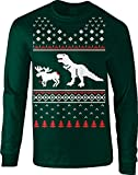Crazy Dog Tshirts - T-Rex Attack Moose Long Sleeve Ugly Christmas Sweater Funny Shirt (Forest Green) L -
