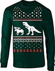 Idea Regalo - Crazy Dog Tshirts - T-Rex Attack Moose Ugly Sweater LONG SLEEVE Shirt Funny Christmas Shirt Dino (Forest Green) L - Divertente Felpa