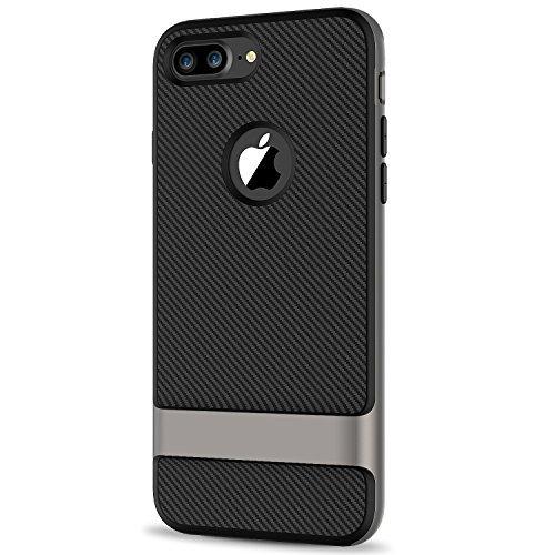 Funda iPhone 8 Plus / 7 Plus, JETech Protección de 2 Piezas Funda Carcasa Case de Shock- Absorción y Diseño de Fibra de Carbono para Apple iPhone 7 Plus 8 Plus 5.5 Inch - Gris