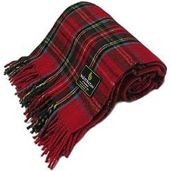 """Ingles Buchan - Manta/Colcha de tartán escocés - Royal Stewart - Lana - 175 (69"""") x 157 cm (62"""")"""