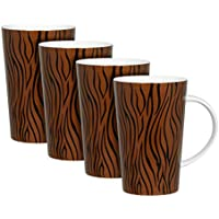 Zrike Brands Metallic Zebra Stripes Mug, Copper/Black, Set of 4 by RSquared