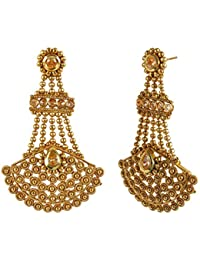 MUCH MORE 22k Gold Plated Ethnic Style Polki Earrings For Women