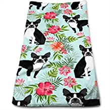 WBinHua Toallas, Toallas de Playa, Boston Terrier Hawaiian 100% Cotton Towels Ultra Soft