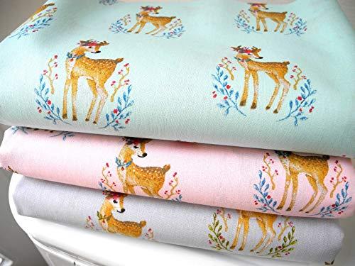 Qjutie Lottashaus No118 Stoffpaket 3 Stück 50x75cm Mint Grau Rosa Bambi REH 100% Baumwolle Kinder Kleidung Stoffe Kinderstoff