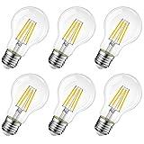 Lampadina Filamento LED E27, 8W Equivalenti a 60W, 806Lm, 2700K, Luce Bianca Calda, LVWIT A60 Stile Vintage, Non Dimmerabile, Confezione da 6 Pezzi