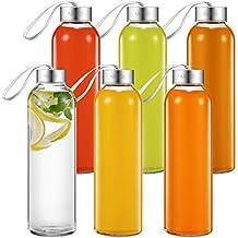 Aicook Botella de Agua de Cristal de 500ml, Paquete de 6, Botella de Vidrio