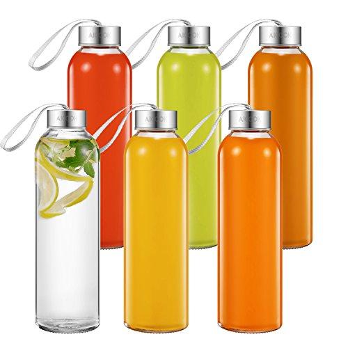 Aicook Botella de Agua de Cristal de 500ml, Paquete de 6, Botella de Vidrio para Jugo, Tapas Sencillas de Acero Inoxidable con Lazo de Transporte, Botella Reutilizable para Bebidas
