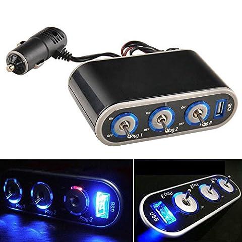 Caxmtu 3voies prise allume-cigare Splitter chargeur 12V Triple prise avec éclairage LED Noir 11cm x 6.1cm x 3.5cm