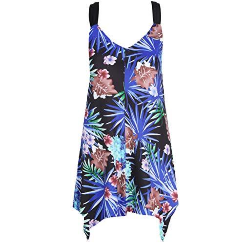 Sunnywill Damen Oberteile Sommer Locker Elegant Sexy Mode unregelmäßigen ärmellosen Blattdruck Kleid Weste Tank (Auf Lust Rote Kleider)