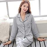 JFCDB Nachthemd Pyjama Sets Vrouwen Turn-down Kraag Koppels Zachte Zijden Pyjama Dames Grote Maat Lange Mouwen Eenvoudige Homewear 2 Stuks Trendy Set, 12, M