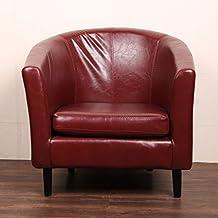 Befied Sillón Grandfather Sillón Vintage de PU Silla butaca Sofá con apoyabrazos para Salón Dormitorio Oficina 66 X 68 X 72 cm (Rojo)