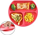 Bumkins Silikon Teller mit Saugnapf - unterteilt und mikrowellengeeignet | Esslernteller, Kinderteller, Babyteller (Rot)