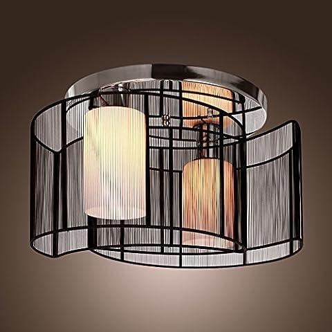 Saint Mossi® Paralume in tessuto nero-Lampadario con 2 luci Mini Style a sospensione, moderna Light Fixture soffitto