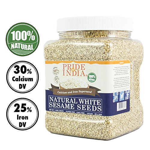 Pride Of India weiß Sesamsamen Kalzium und Eisen Supernahrungsmittel, 1,25 lbs jar -