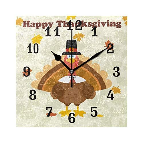 DOSHINE Wanduhr, Thanksgiving Truthahn Herbsturlaub, Leise, Nicht Tickende  Uhr, Schlafzimmer, Wohnzi