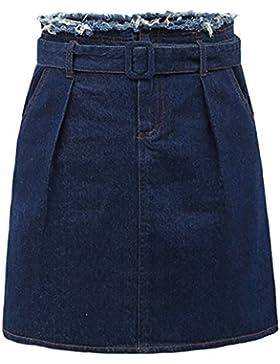 Mujer Faldas Vaquera Cintura Alta Falda con Cintura Mini Faldas de Fiesta