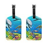 COOSUN Coral Reef Sea Animals Luggage Tags Travel Labels Tag Name Card Holder for Baggage Suitcase Bag Backpacks, 2 PCS