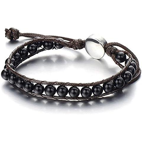 Braccialetto di Perline, Bracciale da Uomo Donna, Tibetan Beads Buddhist Prayer Mala, Sintetico Nero