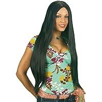 NET TOYS Parrucca capelli lunghi neri per donna alta qualità accessorio di  Carnevale a79f4c4fd20b