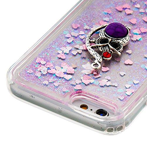 """Flüssiges Case Ultra Thin Dünn TPU Silikon Schutzhülle für iPhone 6/6s 4.7"""" 3D Kreative Liquid Handyhülle Durchsichtig Rückseite Tasche Glitter Shiny Kristall Klar Handytasche Sparkle Dynamisch Treibs B16"""