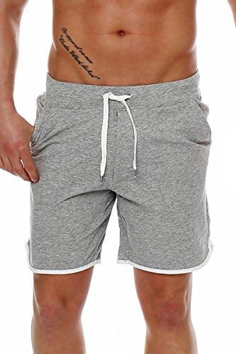 Happy Clothing Herren Hose kurz Shorts Bermuda Jogginghose Sommer Pants Stoffhose Sweathose, Größe:M, Farbe:Grau meliert