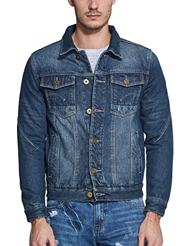 SSLR Herren Fleece Innen Denims Jacken Blau